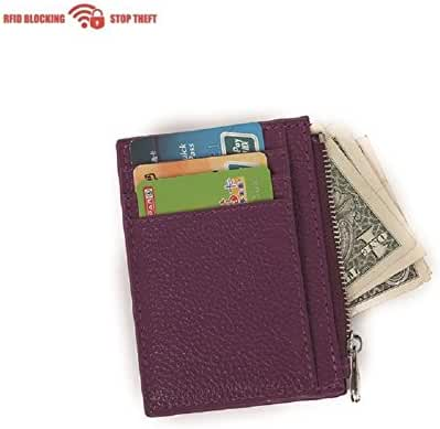 RFID Blocking Leather Slim Zipper Credit Card holder Wallet Card Case Purse